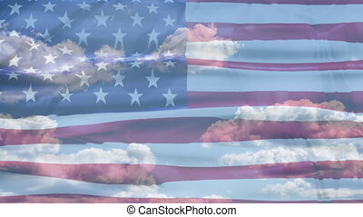 United States American Sky Flag - 3D waving United States of...