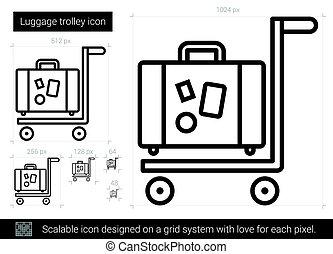 Luggage trolley line icon. - Luggage trolley vector line...