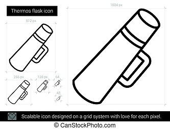 Thermos flask line icon. - Thermos flask vector line icon...