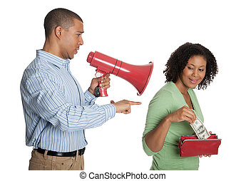 Man using a bullhorn as woman takes money from the wallet -...