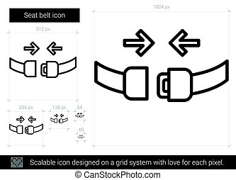 Seat belt line icon. - Seat belt vector line icon isolated...