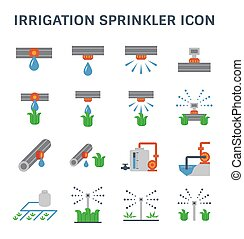 irrigation sprinkler icon - Automatic water sprinkler and...