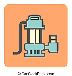 water pump icon - Vector icon of electric water pump or...
