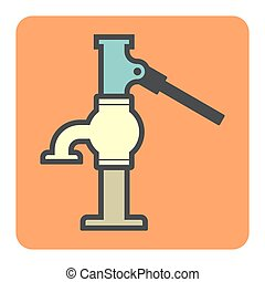 water pump icon - Vector icon of water well pump.