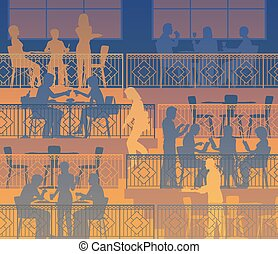 Dining terraces - Eps10 editable vector illustration of...