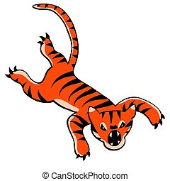 Leaping tiger cartoon - Editable vector cartoon of a fierce...
