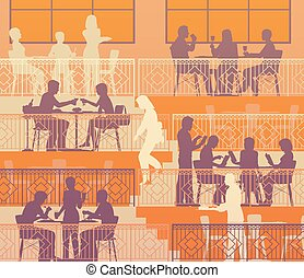 Terraced dining - Eps10 editable vector illustration of...