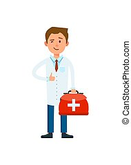 Male doctor in white coat isolated vector
