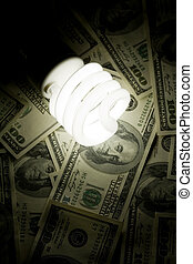 Compact Fluorescent Ligh tbulb and dollar - Compact...