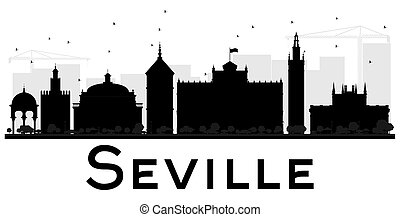 Seville City skyline black and white silhouette. Vector...