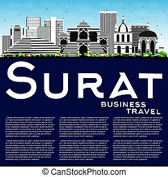 Surat Skyline with Gray Buildings, Blue Sky and Copy Space....