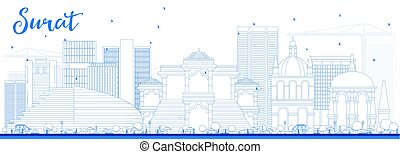 Outline Surat Skyline with Blue Buildings. Vector...