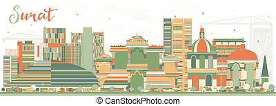 Abstract Surat Skyline with Color Buildings. Vector...