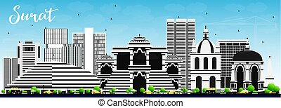 Surat Skyline with Gray Buildings and Blue Sky. Vector...