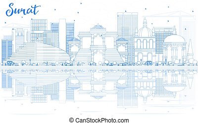 Outline Surat Skyline with Blue Buildings and Reflections....