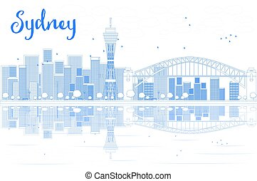 Outline Sydney City skyline with skyscrapers and reflections.