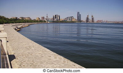 Embankment of Baku, Azerbaijan. The Caspian Sea and...