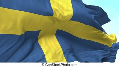 Sweden Flag in the Wind - Close up Sweden flag blowing in...