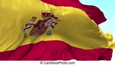 Spain Flag in the Wind - Close up Spain flag blowing in the...
