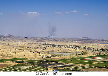 Views on the border between Israel and Syria - View of the...
