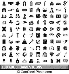 100 adult games icons set, simple style
