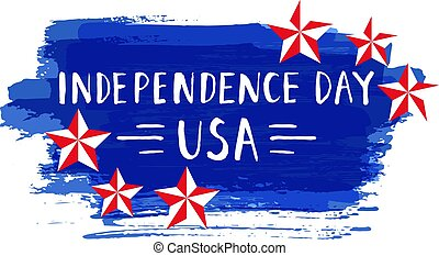Independence Day hand drawn lettering design vector royalty...