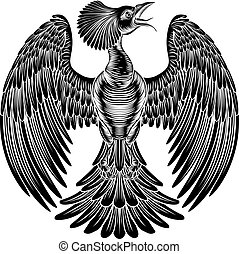 Phoenix fire bird design - A phoenix fire bird in a vintage...