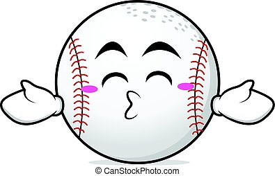 Kissing closed eyes baseball character vector art