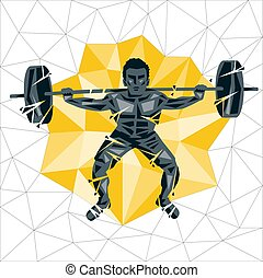 Geometric Crossfit concept. Back squat. Vector silhouette of...