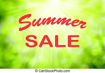 Text Summer sale. Vector Sunny Green nature background,...