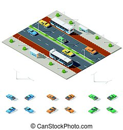 Bus stop and two way road architecture isometric icon set...