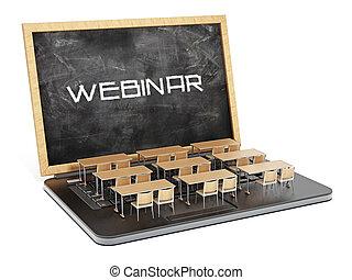 Webinar word on the blackboard as laptop screen. 3D...