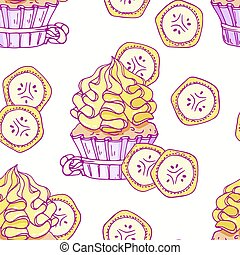 Hand drawn seamless pattern with doodle cupcake and banana buttercream. Food background