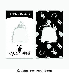 Hand drawn silhouettes. Wheat or flour business cards