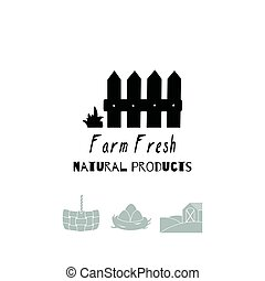 Hand drawn silhouettes. Farm market logo templates for craft food packaging or brand identity