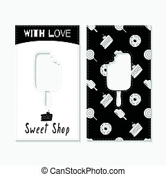 Hand drawn silhouettes. Sweet shop business cards - Set of...