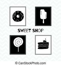 Hand drawn silhouettes. Sweet shop posters - Set of hand...