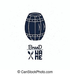 Hand drawn silhouette of barrel. Brewery logo template for craft alcohol bottle packaging or brand identity
