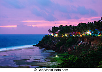 Kerala, India. Varkala beach at night