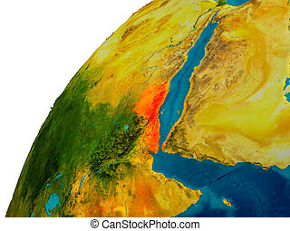 Eritrea on globe - Eritrea in red on topographic globe. 3D...