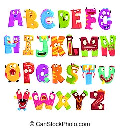 Colorful cartoon children English alphabet with funny...