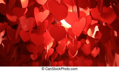 Hanging Red Hearts, a cloud of hanging red hearts.