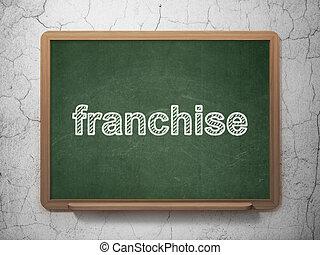 Business concept: Franchise on chalkboard background