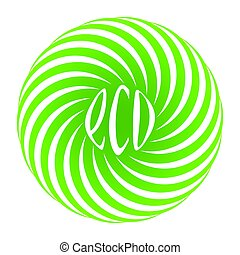 Logo for shop of natural eco food products, vector spiral...