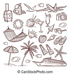 Summer time theme in hand drawn style. Vector doodles icon set