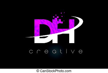 DH D H Creative Letters Design With White Pink Colors - DH D...