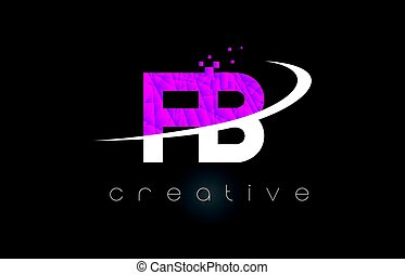 FB F B Creative Letters Design With White Pink Colors - FB F...