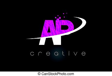 AP A P Creative Letters Design With White Pink Colors - AP A...