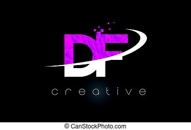 DF D F Creative Letters Design With White Pink Colors - DF D...