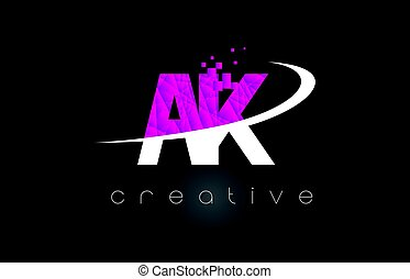 AK A K Creative Letters Design With White Pink Colors - AK A...
